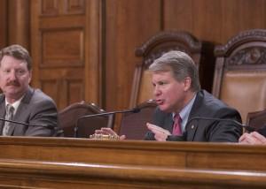Senator Argall (R-Schuylkill/Berks) chairs a Senate Majority Policy Committee public hearing on Wednesday. Senator Elder Vogel, left, is prime sponsor of Senate Bill 724.