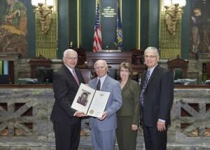 Photo Caption: (L to R) Senator Gene Yaw; Frank Girardi, Lynn Girardi and Dr. Kent Trachte, President, Lycoming College